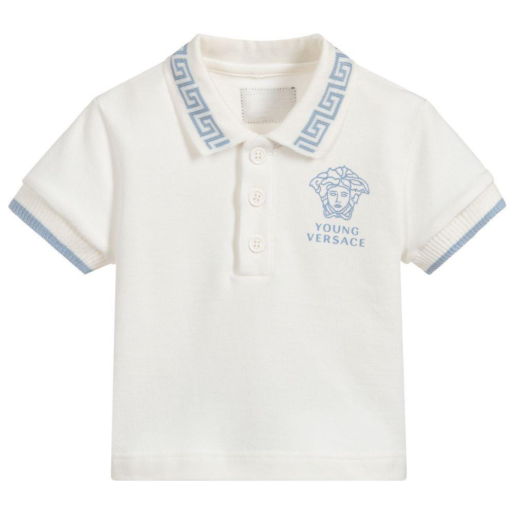 e9e47b3a6 White Cotton Piqué Logo Polo for Boy by Young Versace. Discover the ...