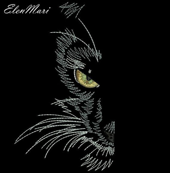 Black Cat Machine Embroidery Design Embroidery Cat Embroidery