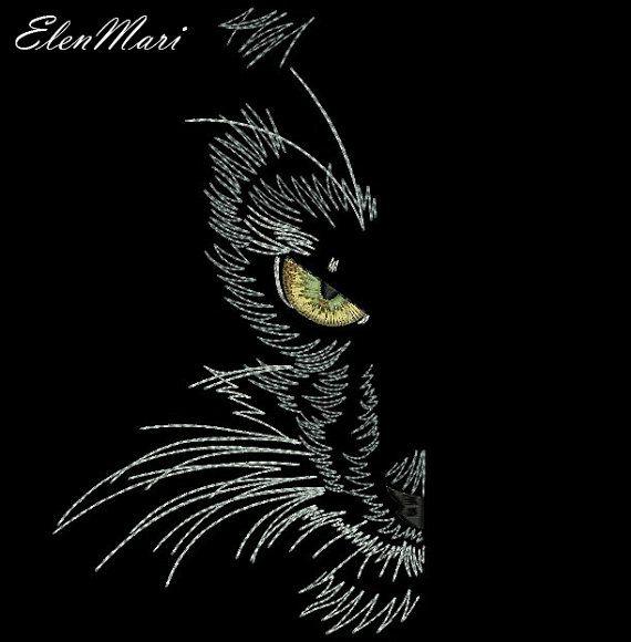 Machine Embroidery Design Black Cat By Elenmari On Etsy Brezilya
