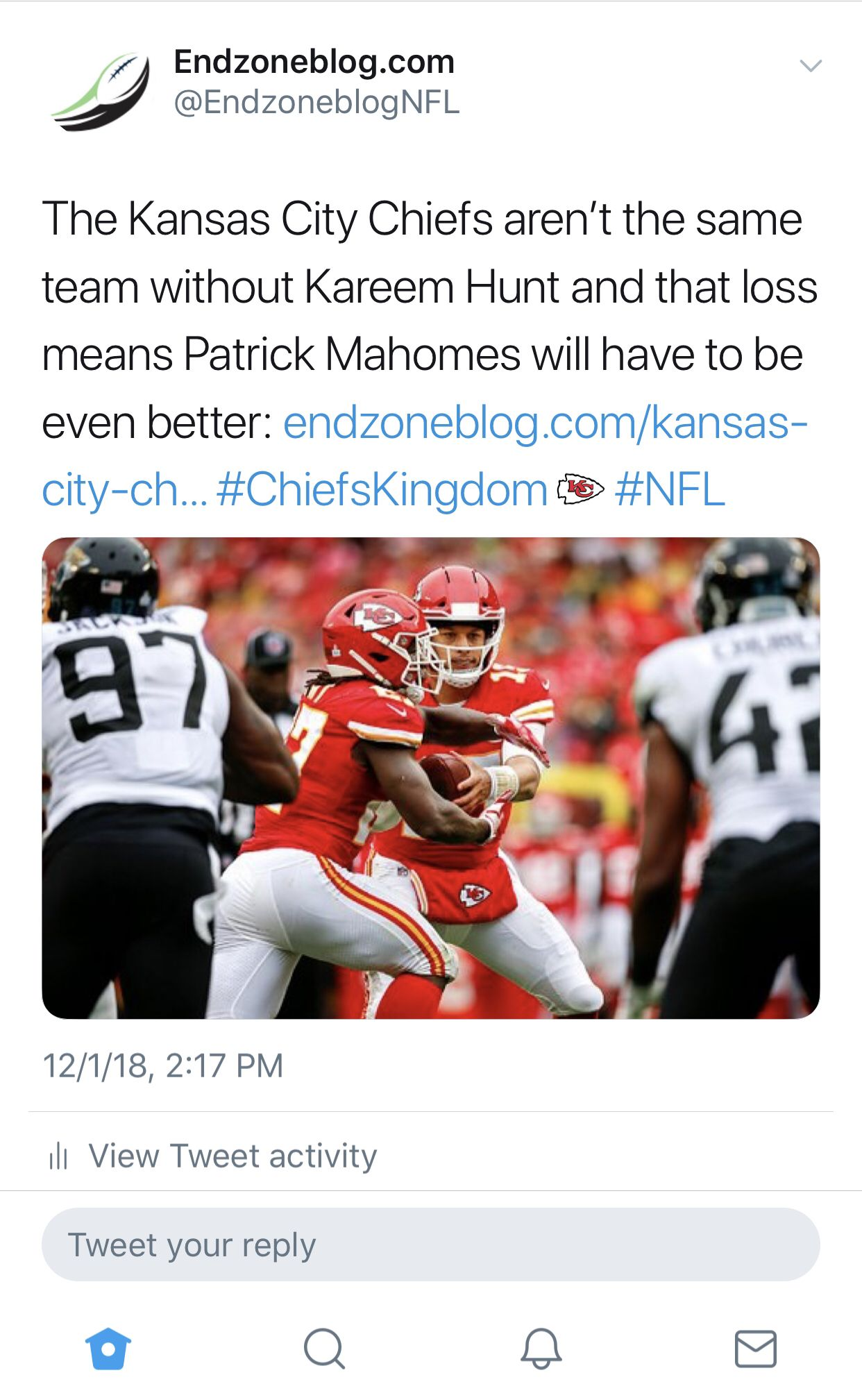 KC will lose a gear without Hunt Live football streaming