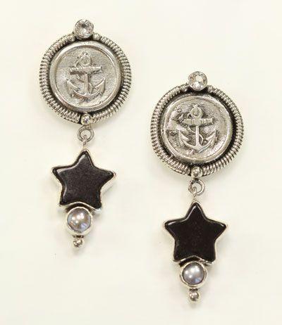 mars valentine nautical post earrings with black enamel stars - Mars And Valentine