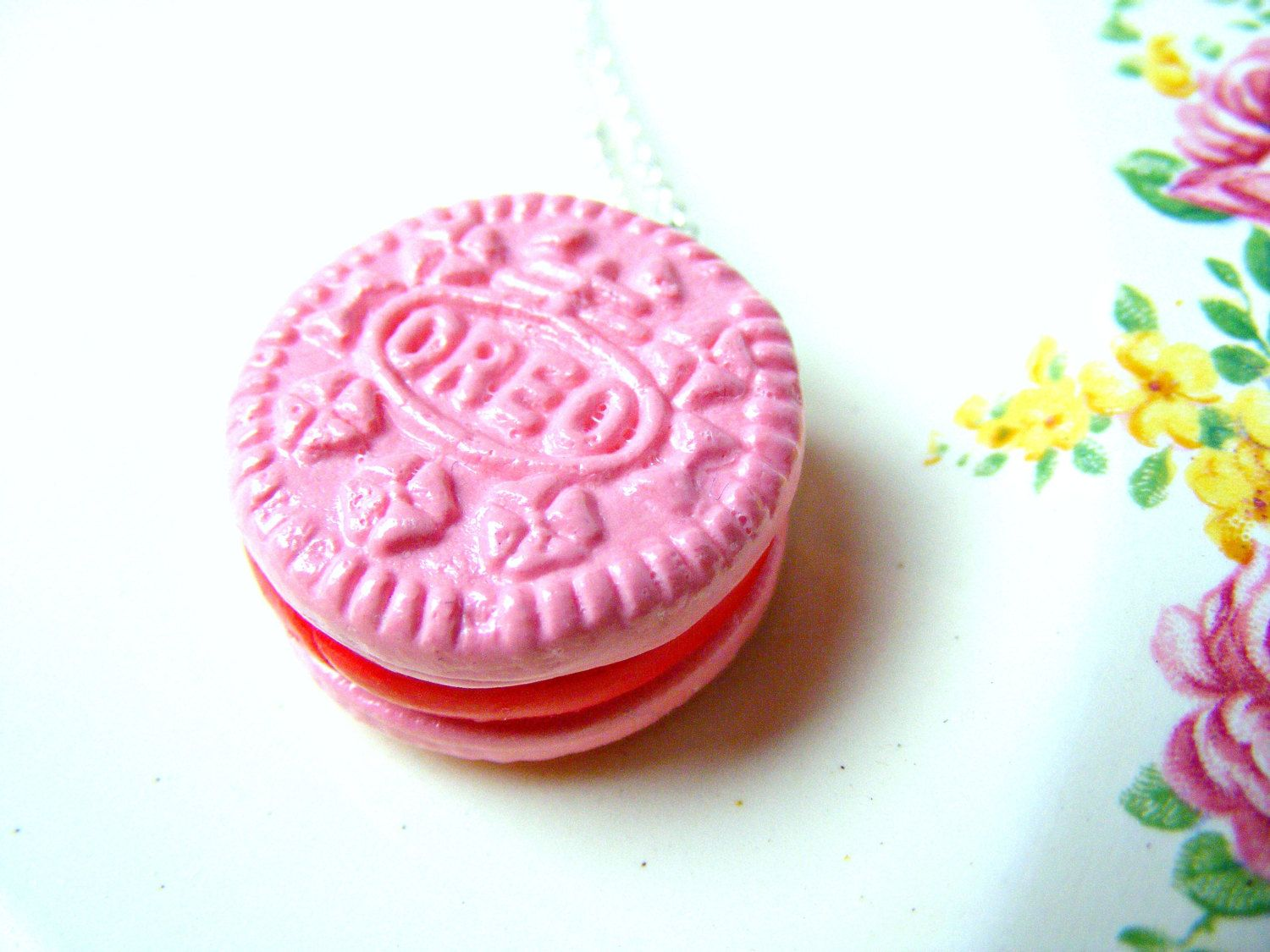 pink charm bracelets necklace pink oreo polymer clay food charm
