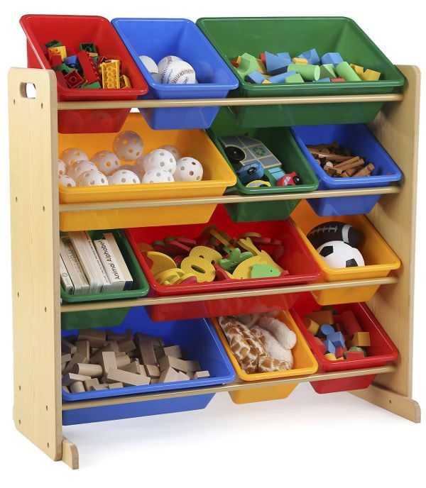 Tot Tutors Kids Toy Storage Organizer With 12 Plastic Bins Natural Primary