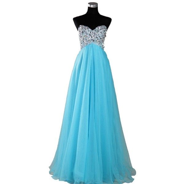 Light Blue Organza Sweetheart Rhinestone Empire Prom Gowns ❤ liked on Polyvore featuring dresses, gowns, sweetheart prom dresses, light blue ball gown, light blue evening gown, rhinestone prom dresses and sweetheart neckline prom dress