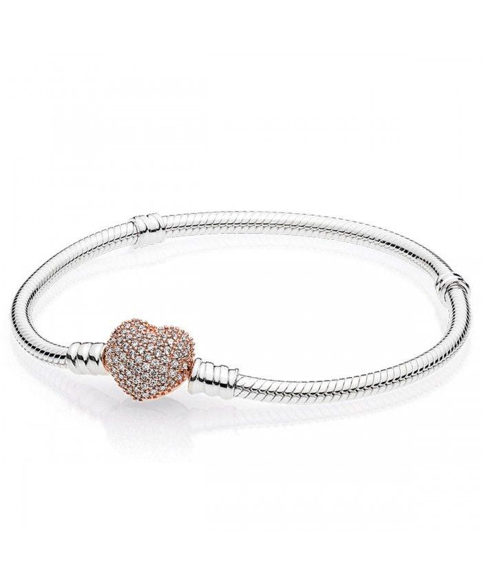 Rose Gold Pave Heart Clasp Bracelet | Bracelet pandora, Bracelet ...