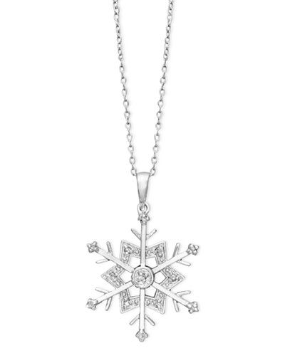 Diamond snowflake pendant necklace in sterling silver 110 ct tw diamond snowflake pendant necklace in sterling silver 110 ct tw mozeypictures Gallery