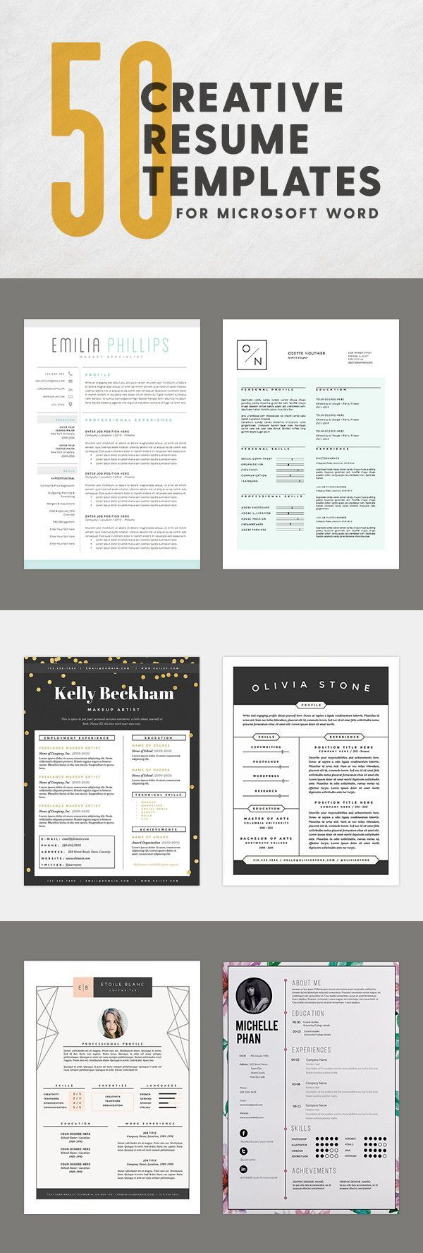 50 innovative  artistic microsoft word resume templates