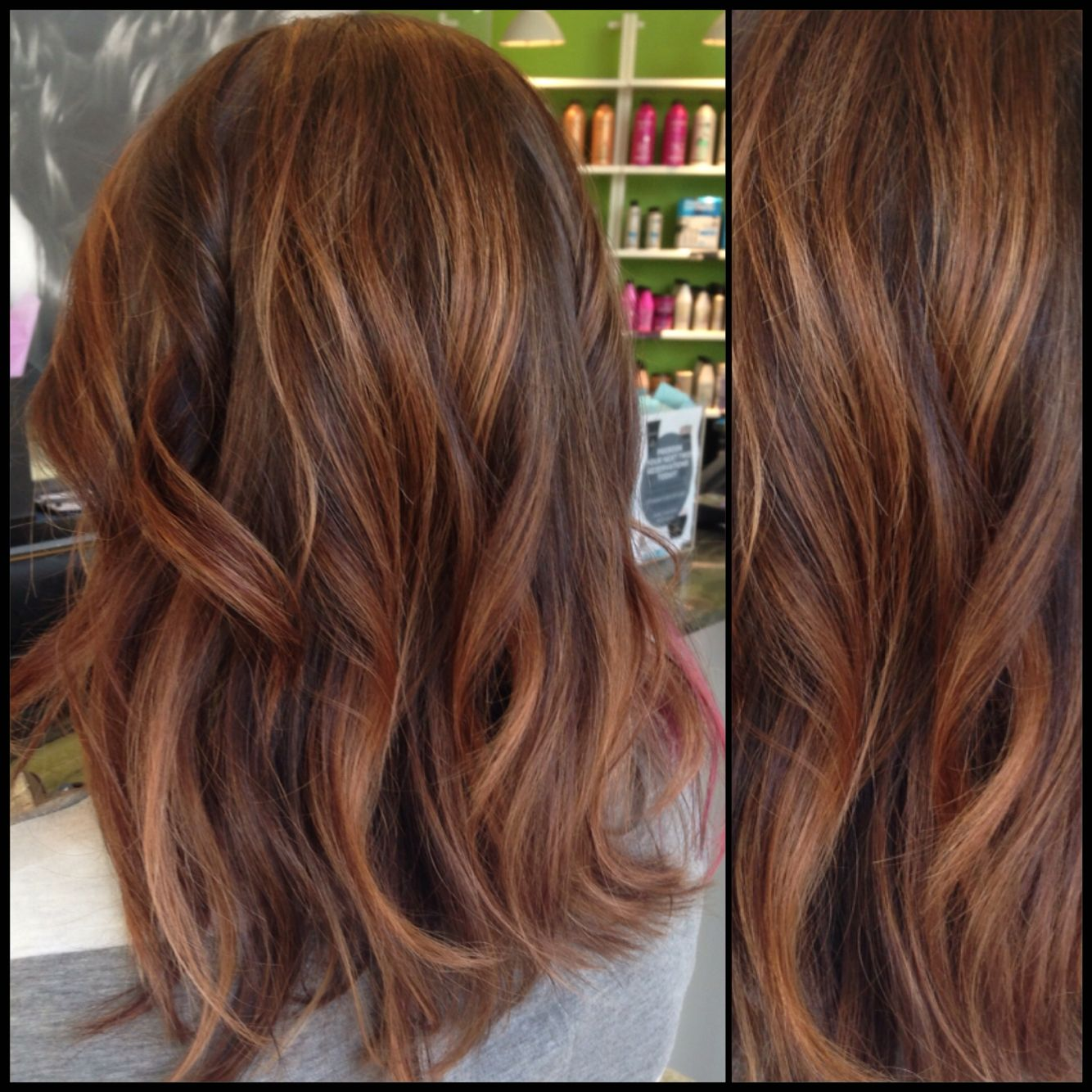 Caramel And Brown Hair With Rose Gold Accents Hair Styles Balayage Hair Hair Color
