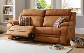 3 Seater Recliner Leather Sofa | Sofas | Leather reclining sofa ...