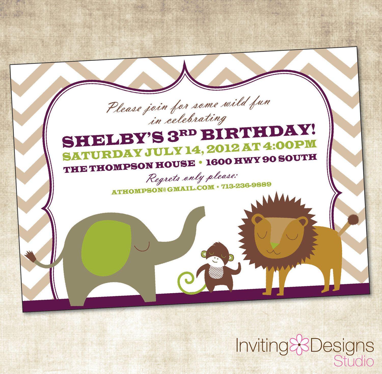 Birthday Invitation, Safari Birthday (PRINTABLE FILE). $16.00, via ...