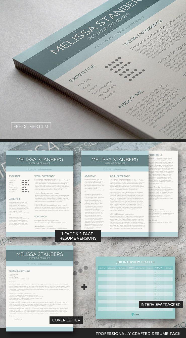 Clean Resume Template Package   CV & Resume Design   Pinterest