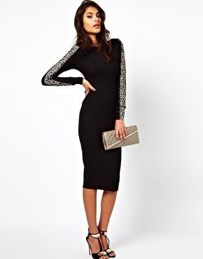 Enlarge ASOS Midi Bodycon Dress With Embellished Sleeves