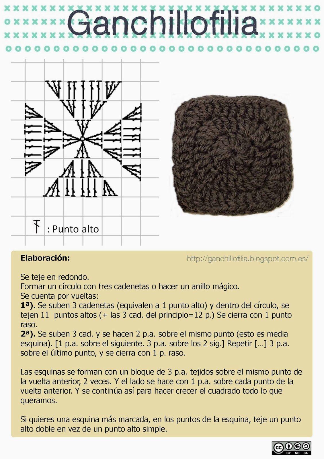 Del cuadrado sólido y las pantuflas de la abuela | Crochet Blocks ...