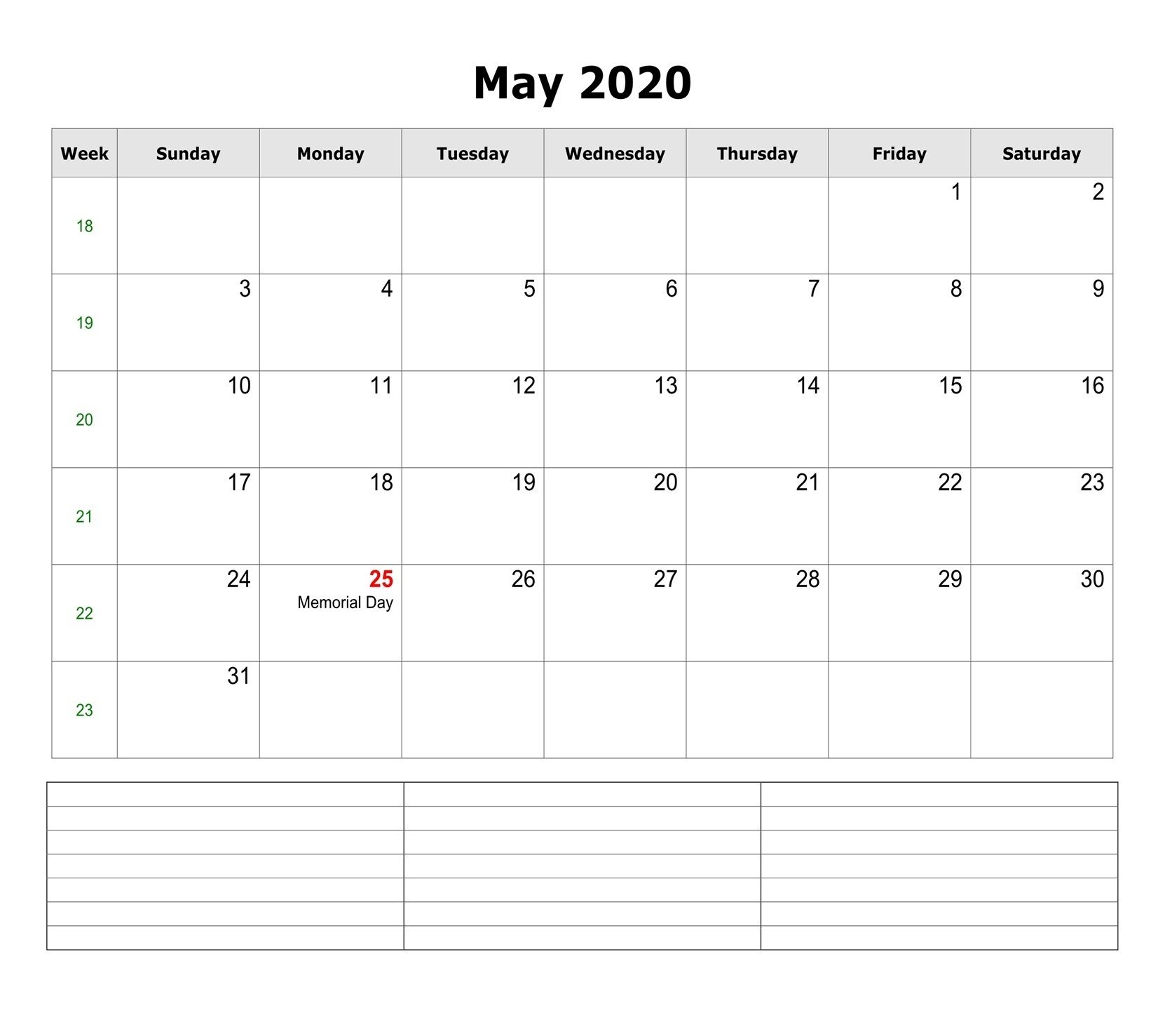 Free May 2020 Editable Calendar In 2020