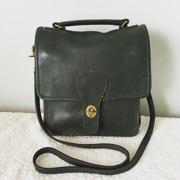 483c9fc6c85f Vintage Coach Willis Leather Cross Body Bag Vintage Coach Willis Leather  stations cross body messenger bag. Dark green. Removable shoulder strap.