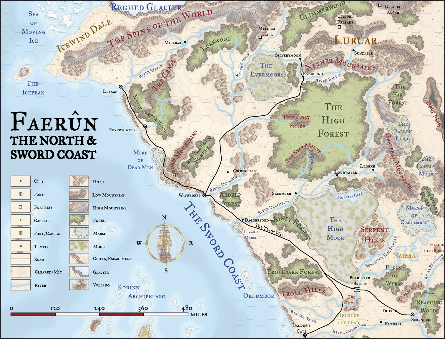 Faerun Hex Map With Images Fantasy World Map Dnd World Map