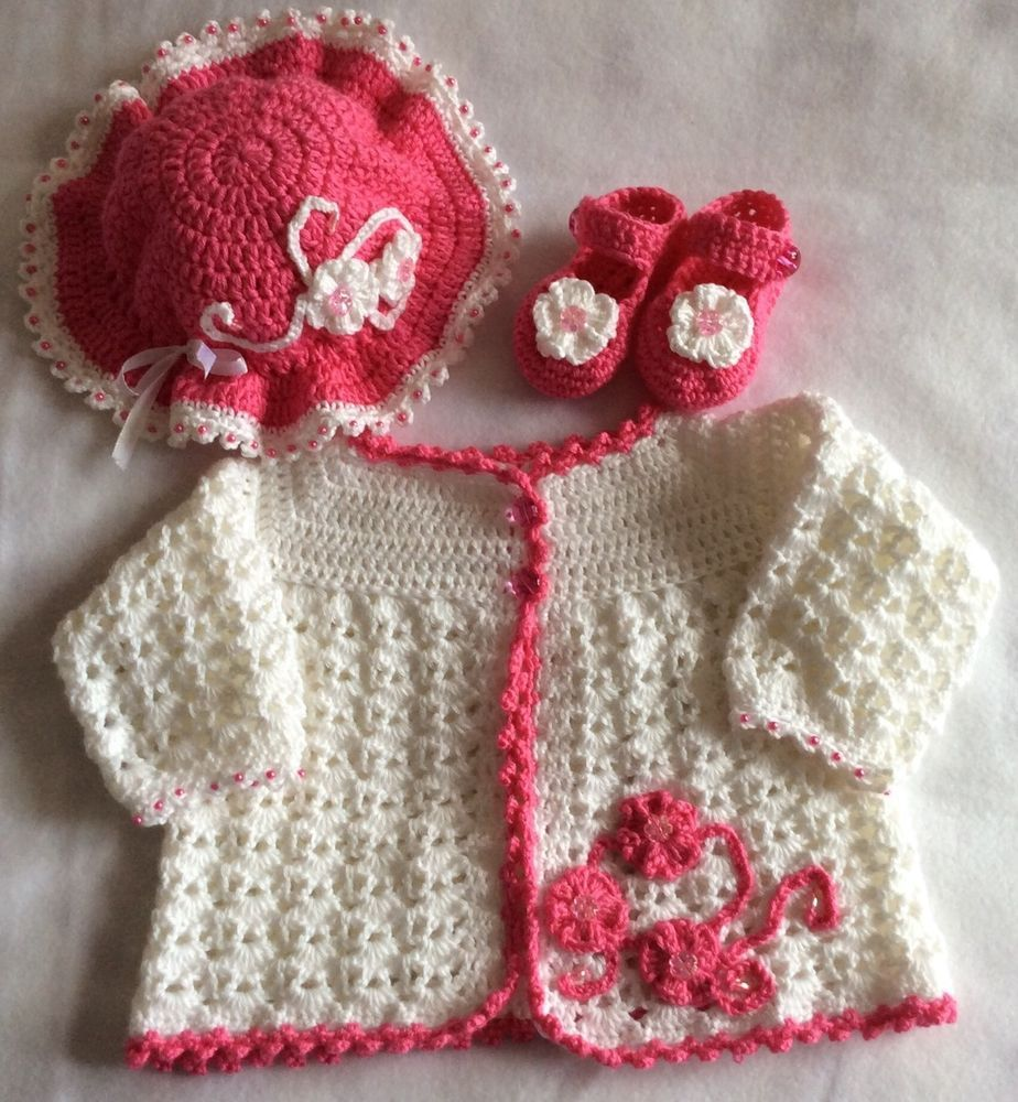 Baby Girl Pink & White Crochet Outfit - Jacket, Hat & Shoes  | eBay