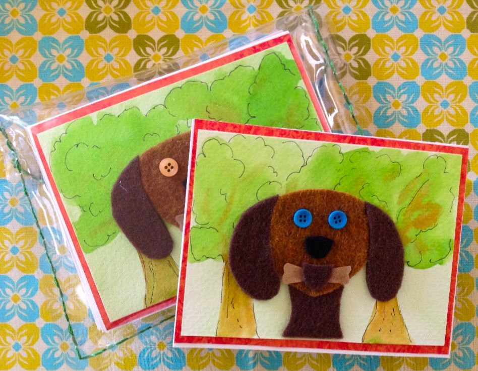 Handmade dog greeting cards set of 6 with envelopes comes in a handmade dog greeting cards set of 6 with envelopes comes in a hand sewn recyclable clear plastic pouch with a thread and button tie m4hsunfo