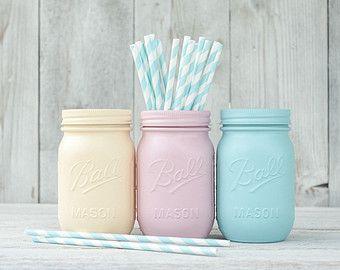 Chambre ado pastel d cor peint mason jar vases organiser des centres de parti nusery stockage - Diy deco chambre ado ...