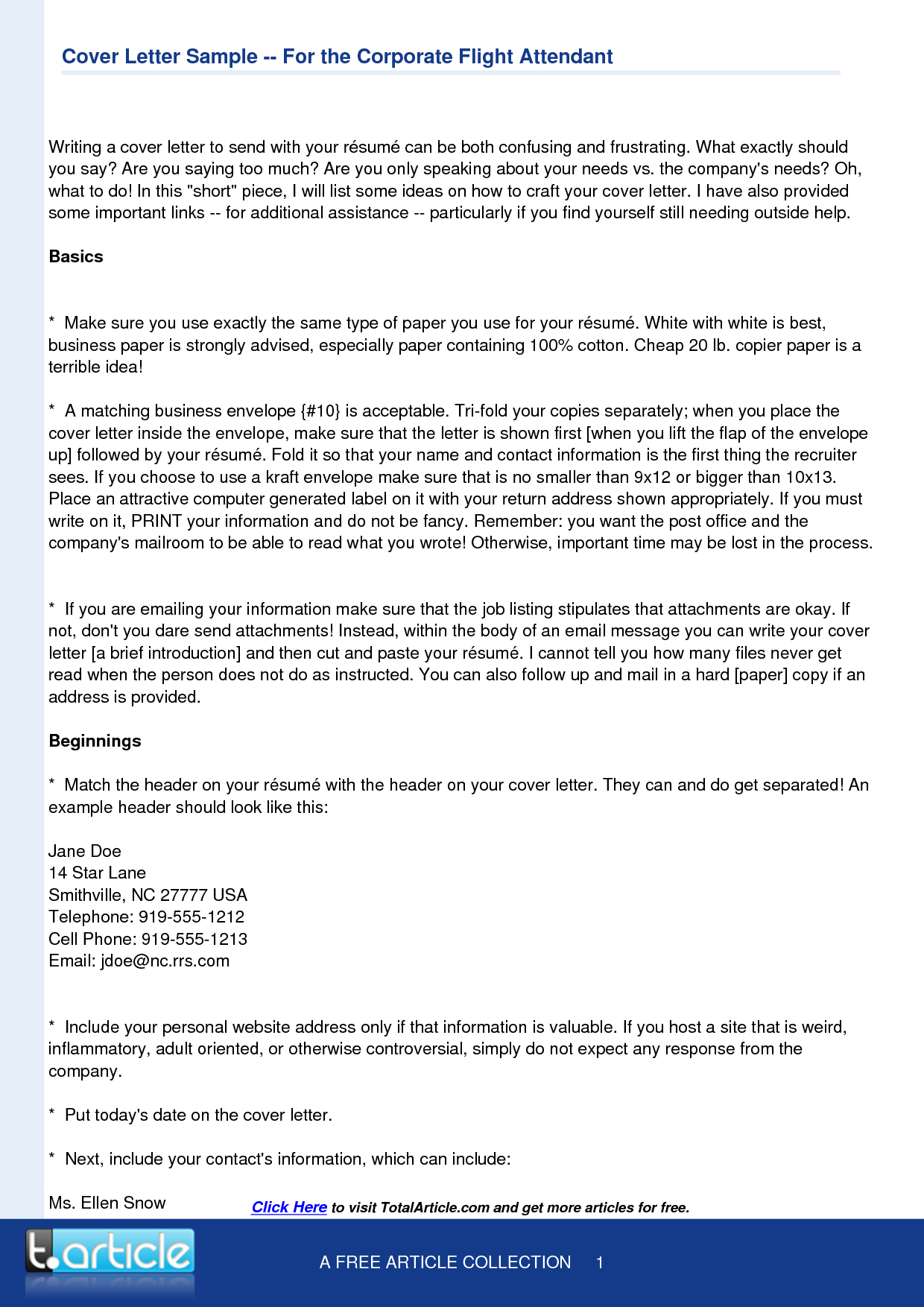 Flight Attendant Cover Letter Template  Resume Template