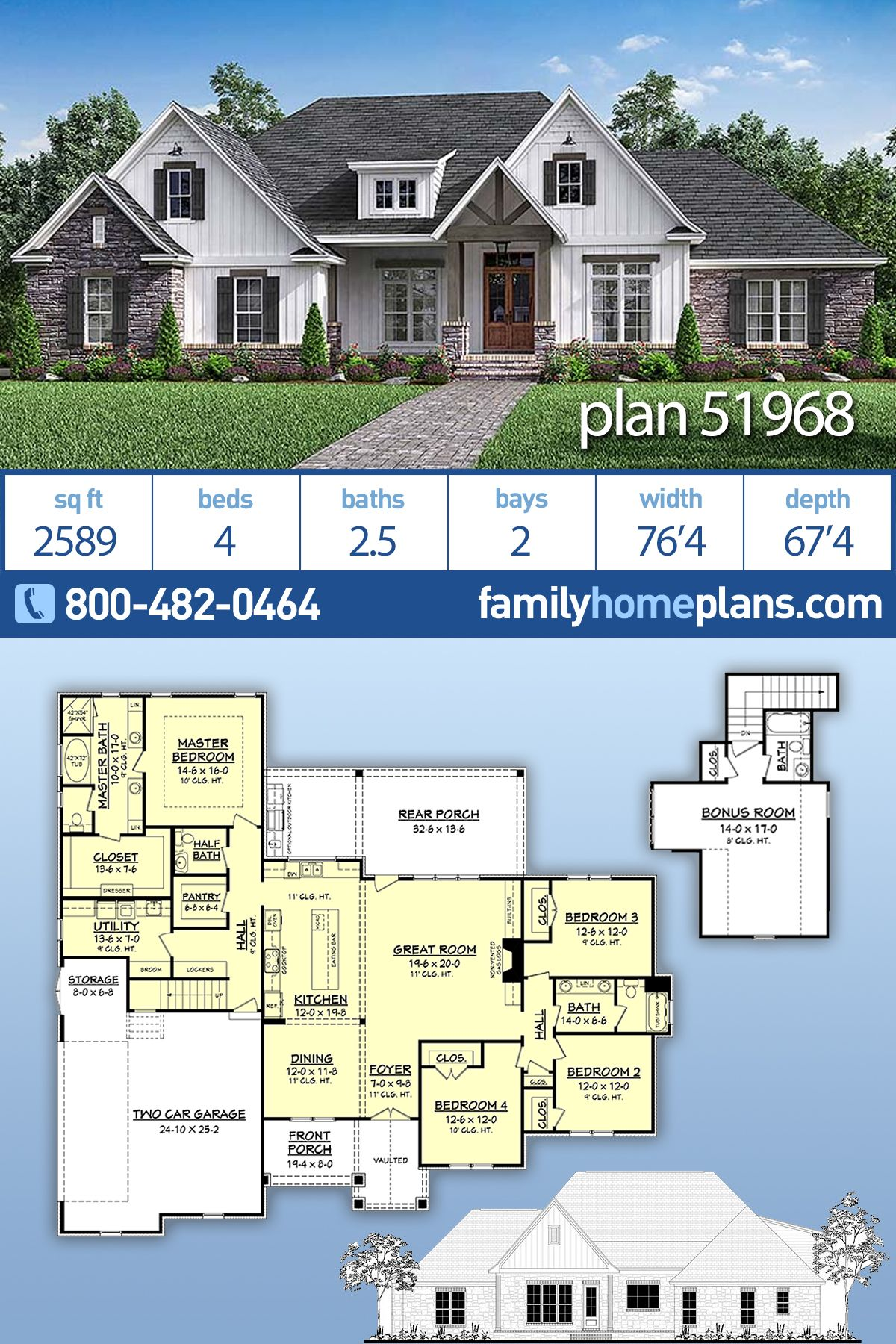 Traditional Style House Plan 51968 With 4 Bed 3 Bath 2 Car Garage Craftsman House Plans Family House Plans Traditional House Plans