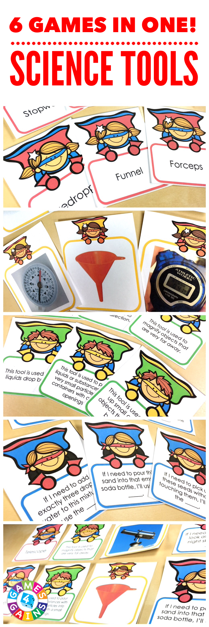 Science Tools 'Superhero Draw' Game brings you 6 wildly fun science tools games in one! Students will have a blast playing these popular card games as they practice identifying various science tools and describing their purpose. These games work great as a pair/group activity, or for use in science centers.