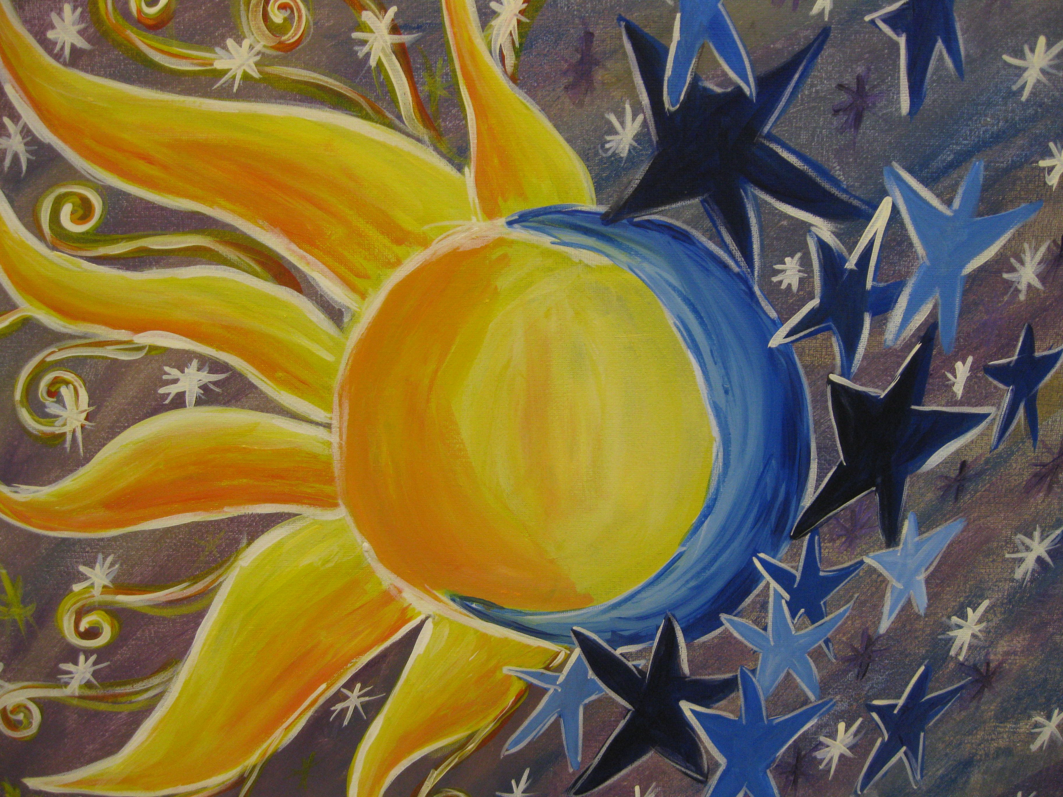 Sun Stars Moon Painting - Bing Images