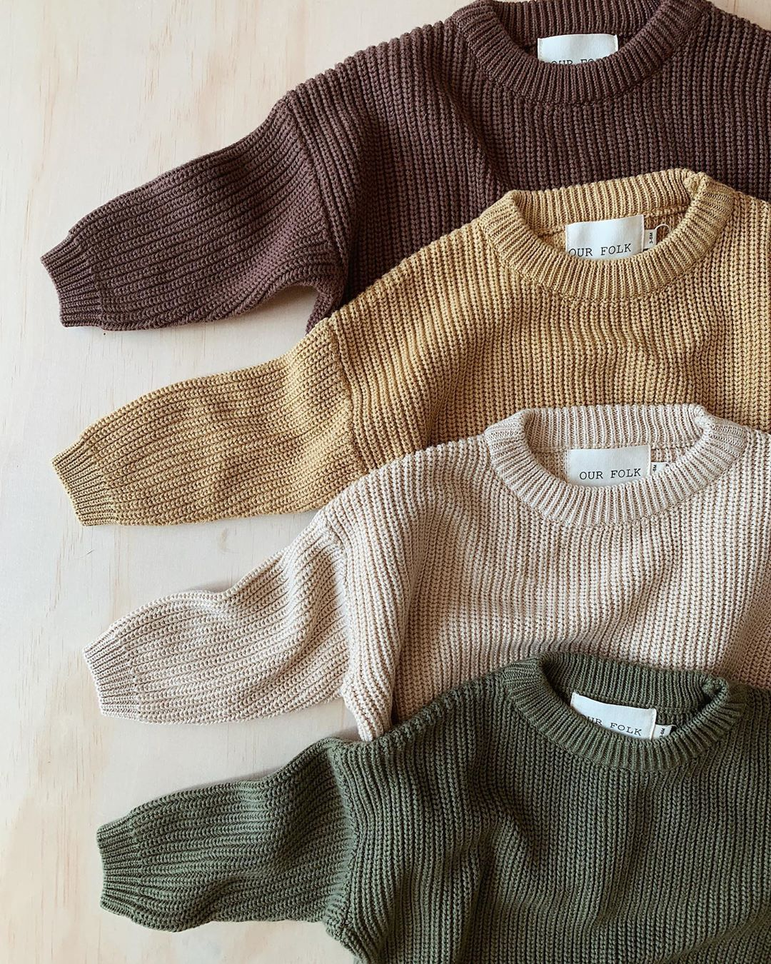 """Photo of OUR FOLK on Instagram: """"ONLINE 10am this morning!! A few questions about the knits.  I would recommend getting the size your child would usually wear, but if you…"""""""