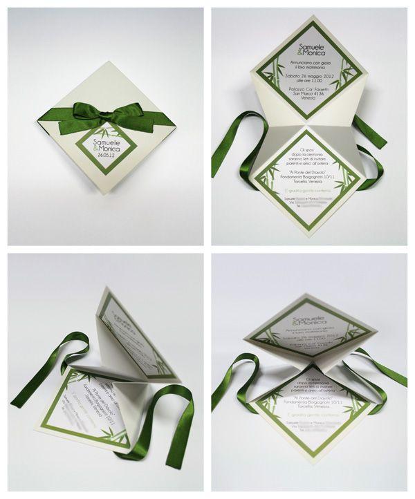 Préférence partecipazioni con fiocco verde | Partecipazioni Matrimonio  PW39