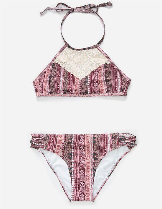 add9b6d42a FULL TILT Crochet High Neck Girls Bikini Set