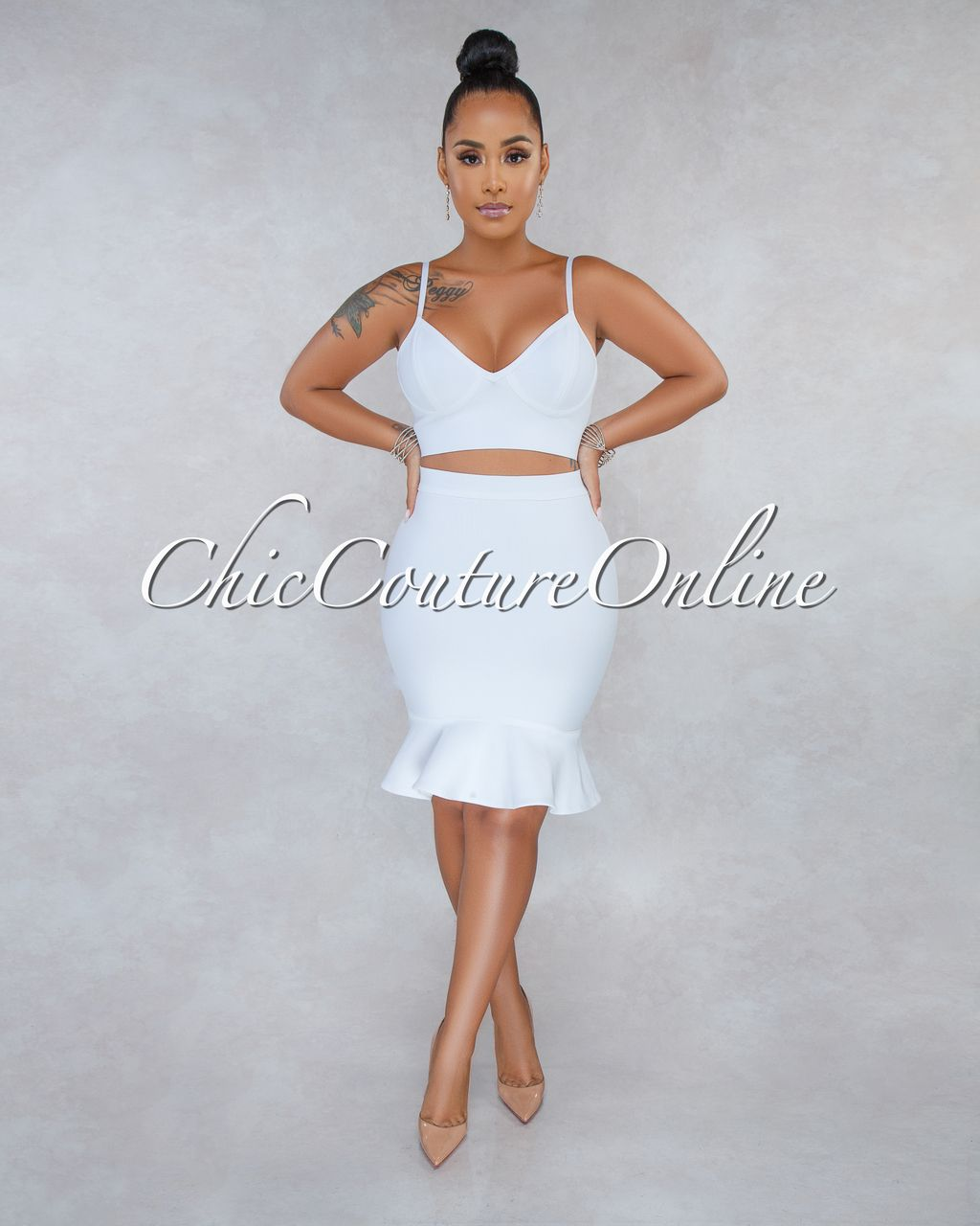 ef80a7a2586 Chic Couture Online - Alexandra White Bandage Ruffle Two Piece Set
