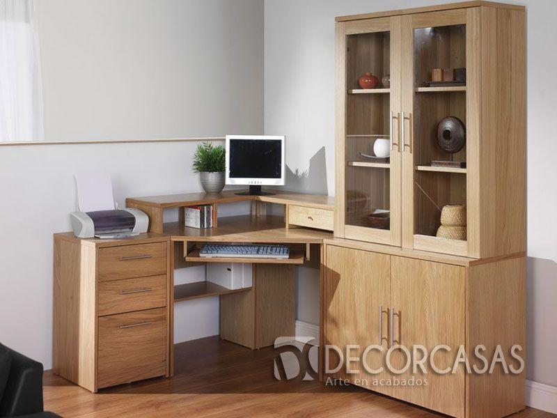 escritorio de melamine color haya, este mueble esta integrado con un ...