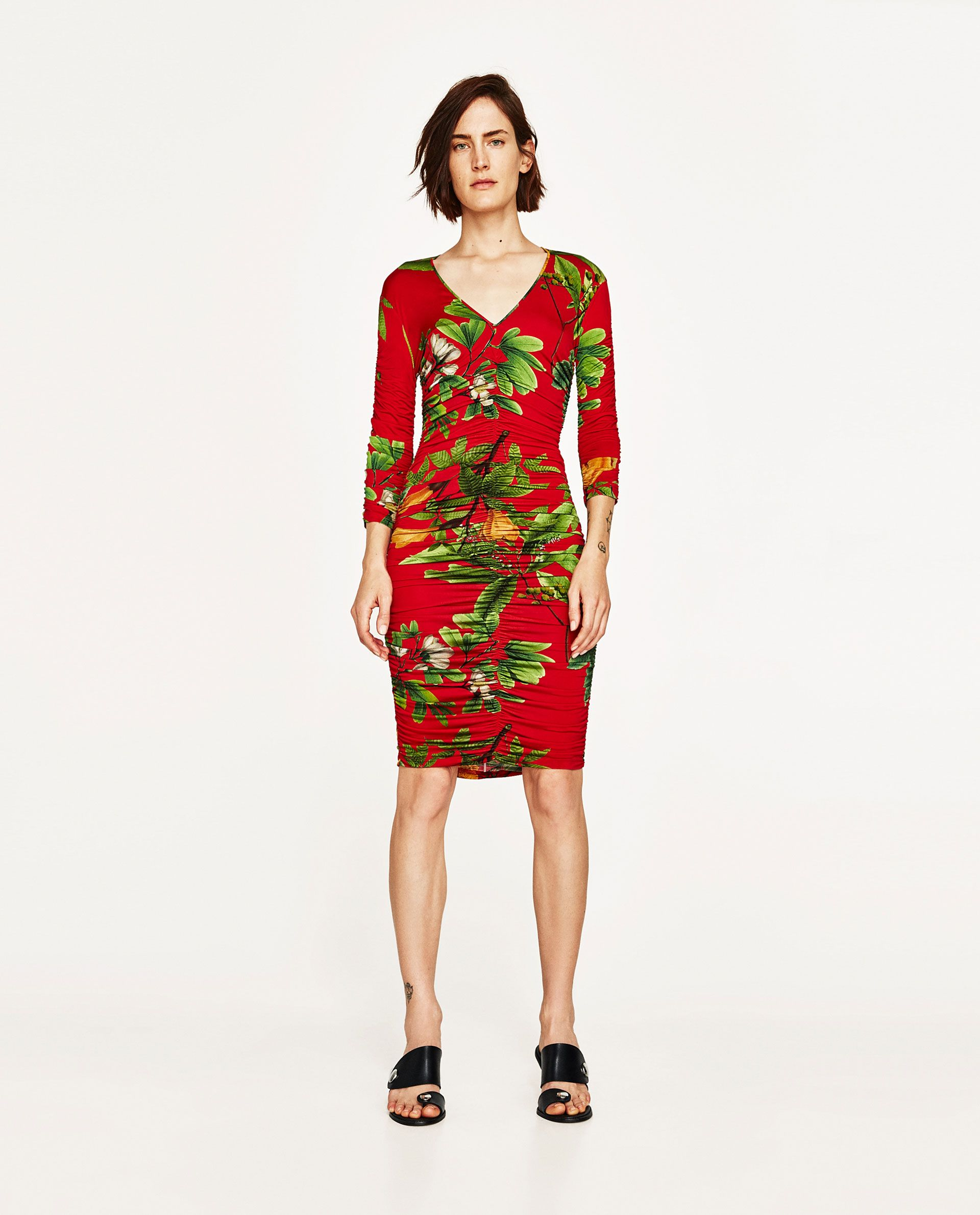 4020da19 Image 1 of DRAPED TROPICAL PRINT DRESS from Zara | High Street ...