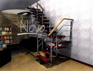 escaleras eje central de hierro y madera