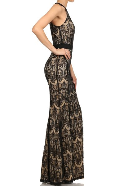 Lace Halter Maxi Dress
