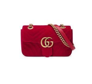 4306a0da8197 Gucci Womens GG Marmont quilted velvet shoulder bag red | Ebay ...