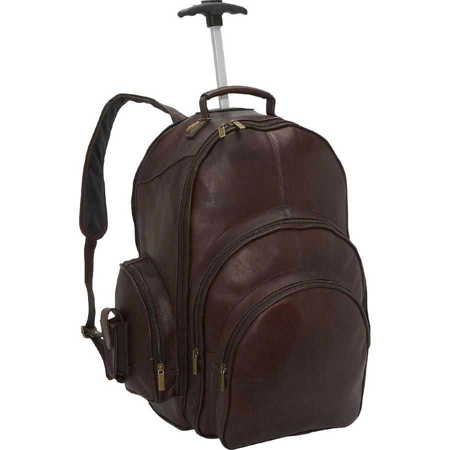 Multi pocket backpack on wheels has two large front zip pockets. Two side zip pockets.