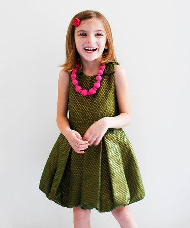 6ce3a179e Olive & Gold Pleated Bubble Dress - Girls by Sophie Catalou #zulilyfinds