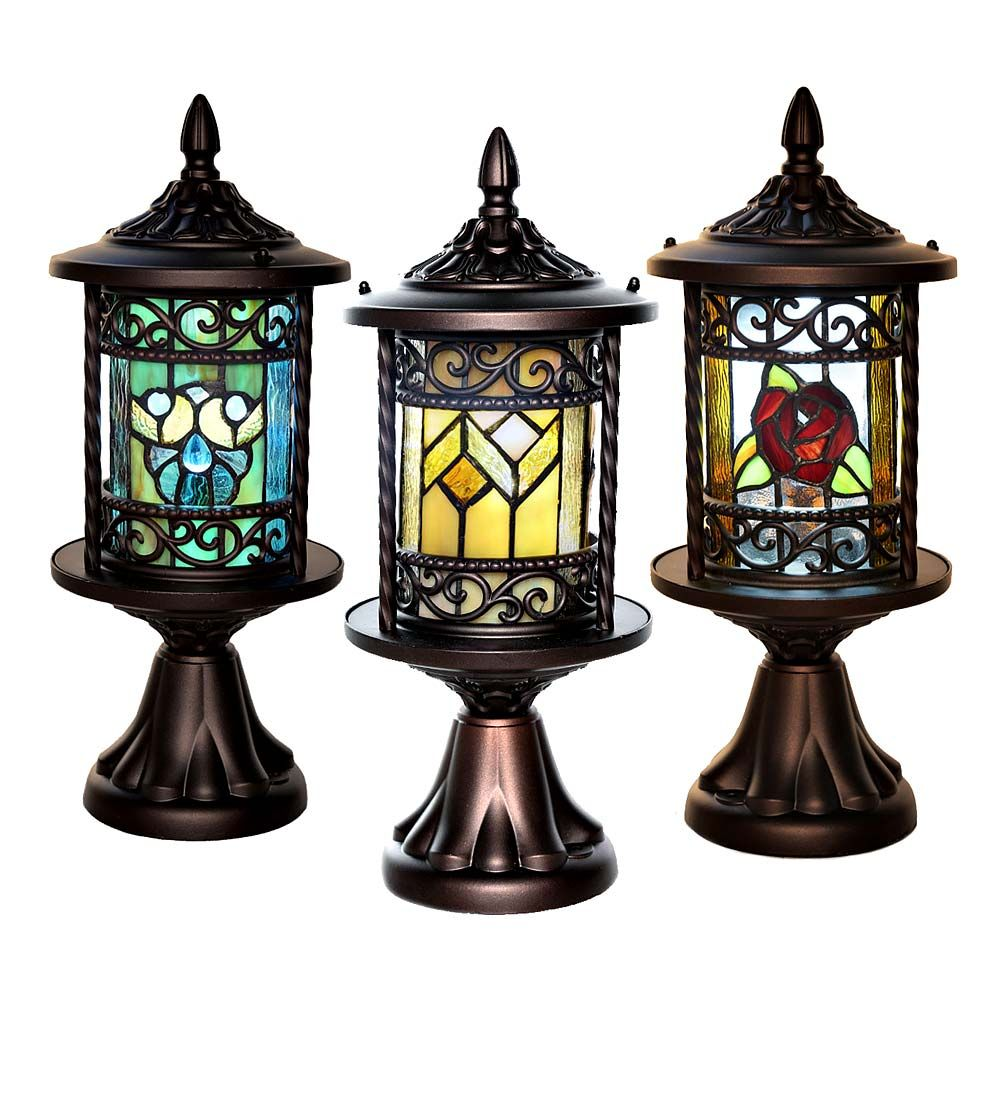 Wireless Stained Glass Outdoor Lantern Outdoor Lanterns Stained Glass Light Outdoor Lamp