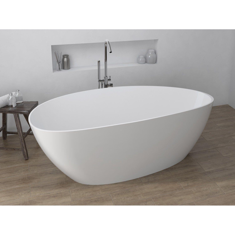 Baignoire Ceramique Pas Cher baignoire îlot ovale l.170x l.77 cm blanc stori | baignoire