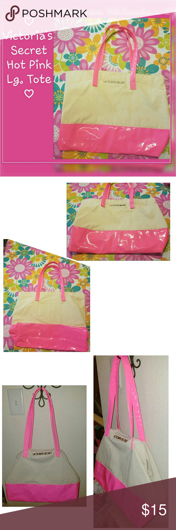 "Victoria's Secret Large Hot Pink Tote ~ Beach Bag ? Gorgeous bright/hot pink (similar to a hot bubblegum color) Tote bag from Victoria's Secret. Natural cream color background and inside, pink straps and bottom.   Very sturdy, great for the beach, toting things back & forth and more!   I used this bag once after getting it from Victoria's Secret, in almost perfect condition- has one or two tiny black spots on bottom of base.  Measures appx. 14"" tall, 19.5"" wide and is 5.75"" wide across…"