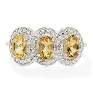 <strong>7</strong> - Amarelo Beryl & Diamond Sterling Silver Ring ATGW 1.20cts