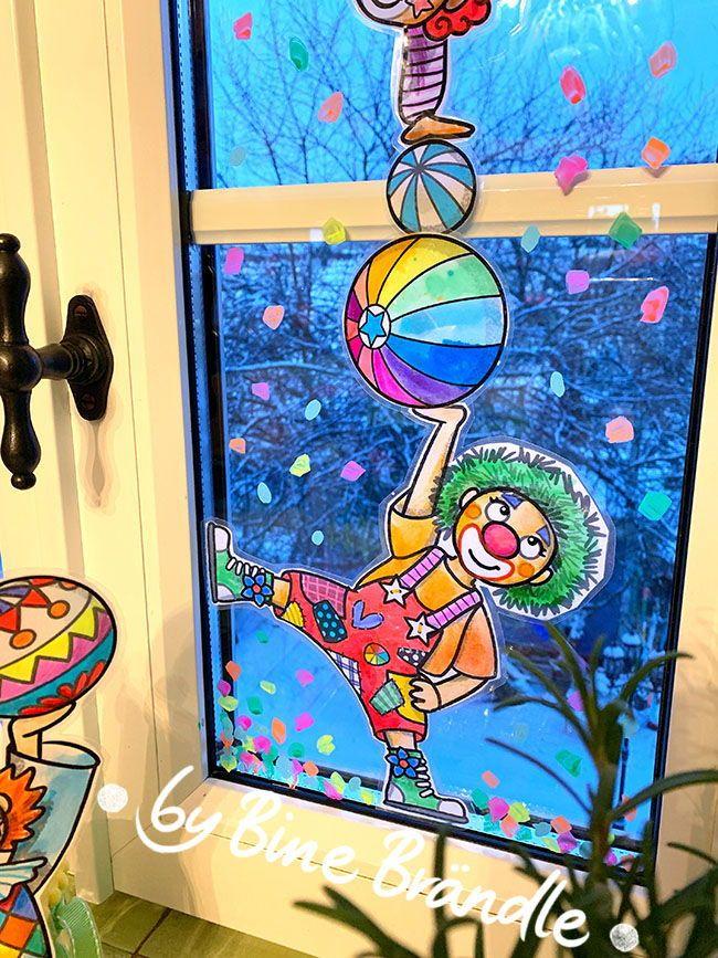 witzige bunte clowns zum selber ausmalen und gestalten