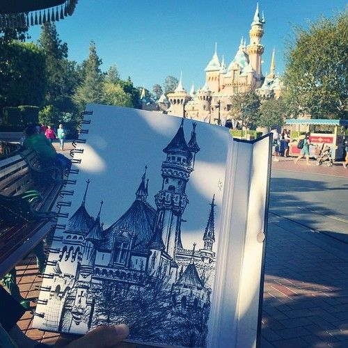 artfullynerdy:  Very often before work you can find me sketching on Main Street. Today 5 photos were taken of me and I even had a little girl sit next to me and watch me draw. THIS is what it all really started from and what is the most important to remember of Walt's long-lasting legacy: the art.  #artmajor #artyolo #mainstreet #disneyland #dcp2014