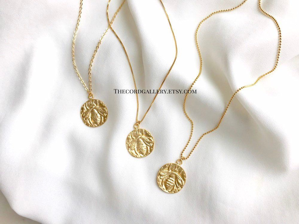 Gold Bee Necklace 14k Gold Filled Necklace Gold Honey Bee Medallion Necklace Bumblebee Coin Pend 14k Gold Filled Necklace Queen Bee Necklace Gold Fill Necklace