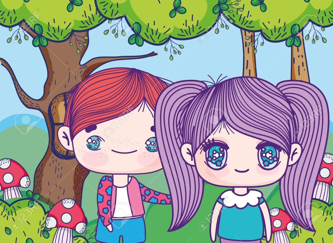 Kids Little Boy And Girl Anime Cartoon Forest Field Mushrooms Nature Vector Illustration Sponsored Affiliate Anime In 2020 Little Boy And Girl Anime Boy Or Girl