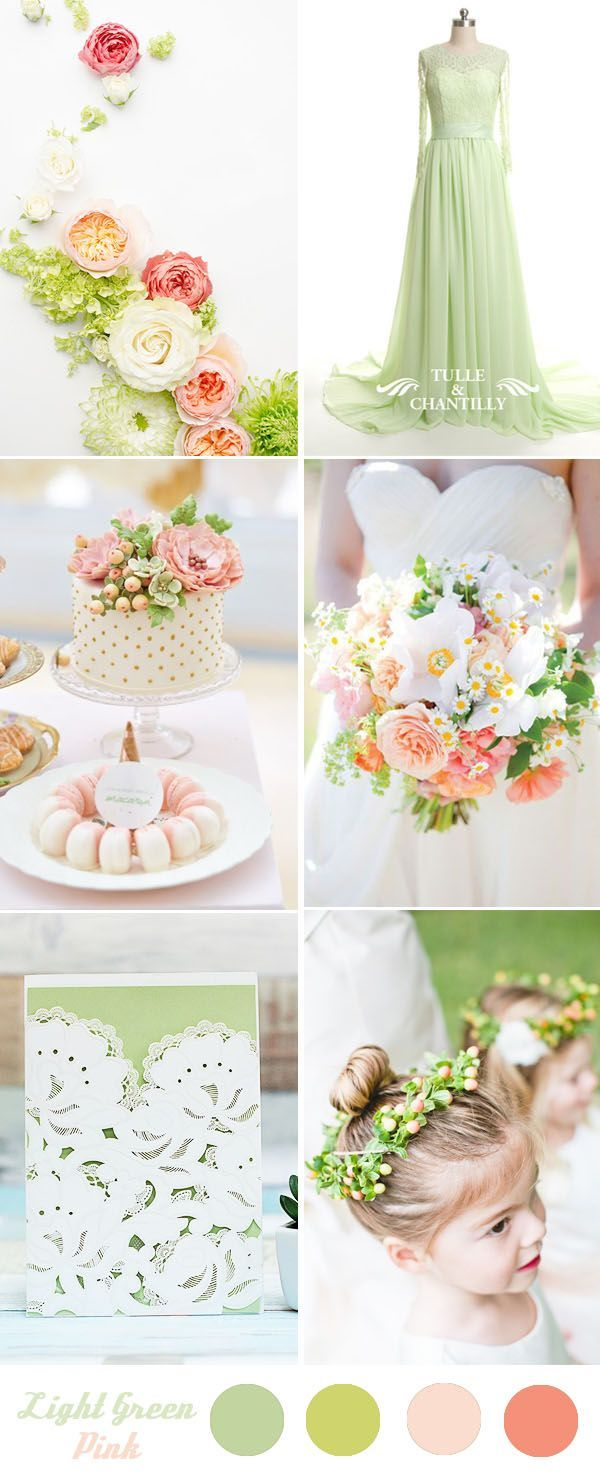 stunning light green and pink wedding color palette ideas for 2016 ...