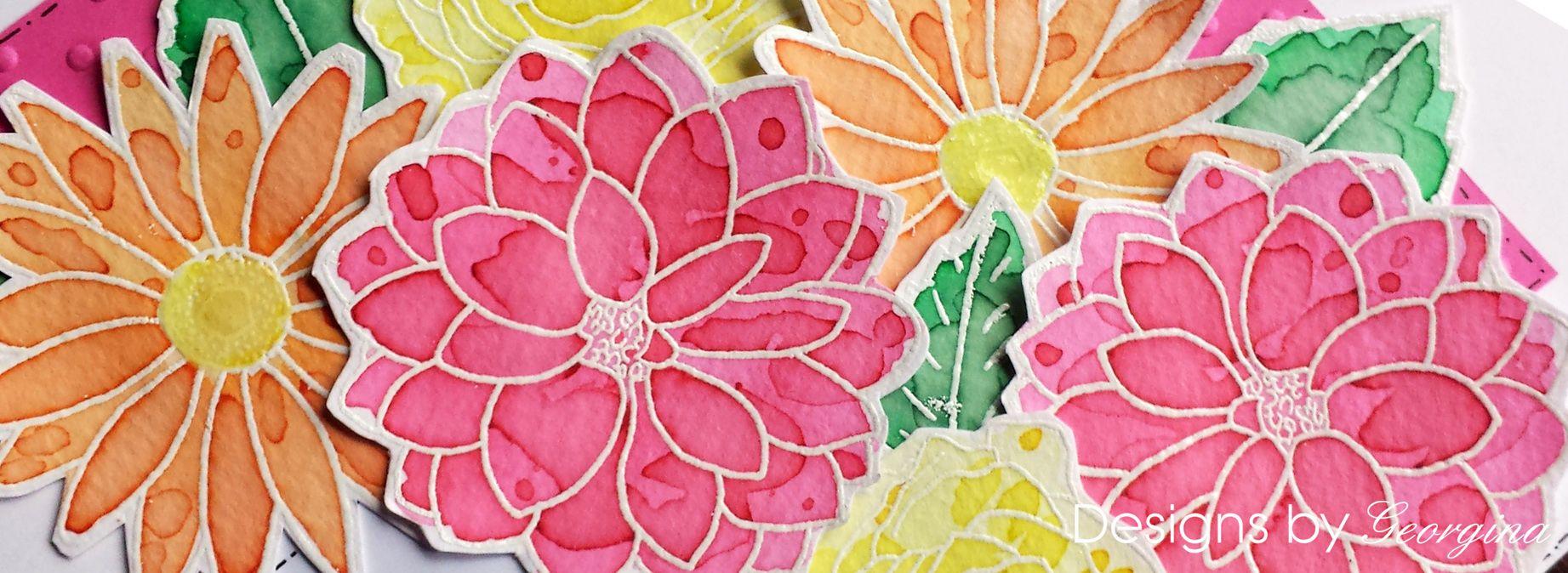 Designs by Georgina Floral Trio stamp set. Flowers coloured with Color Burst.
