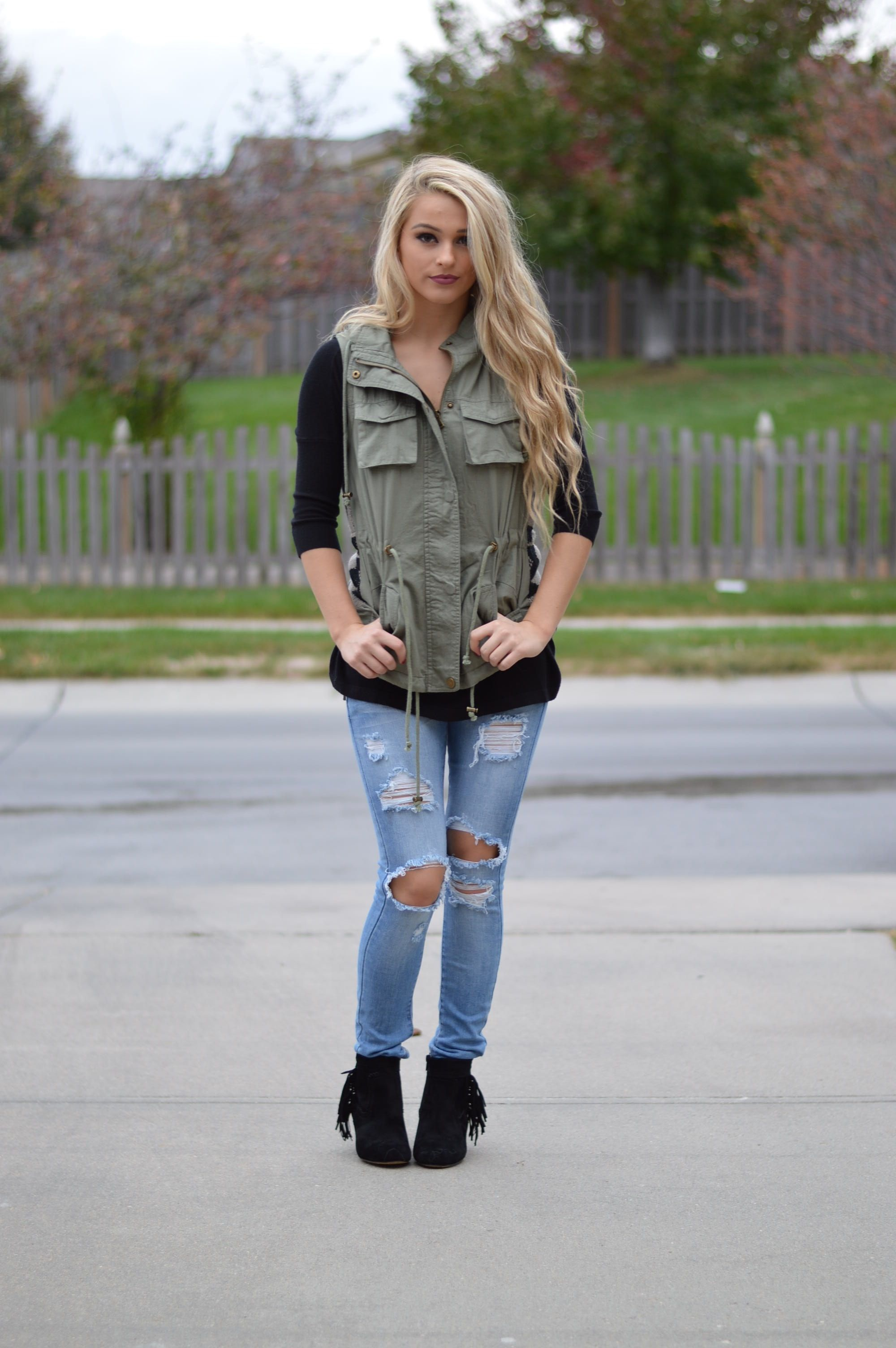 Aztec Sweater Back Army Vest | $59 | Foi Clothing | Made of 100 ...