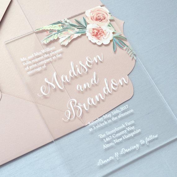 Acrylic wedding invitation #menus